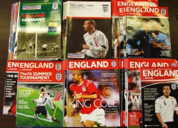 Complete set of ENGLAND HOME PROGRAMMES whilst Wembley was being rebuilt 2001 to 2007